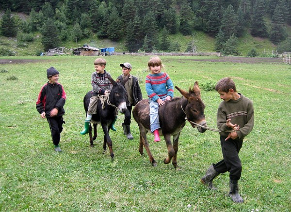 Tush kids with their donkeys