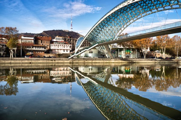 Peace Bridge Mtkvari Tbilisi by Mike Bourgault