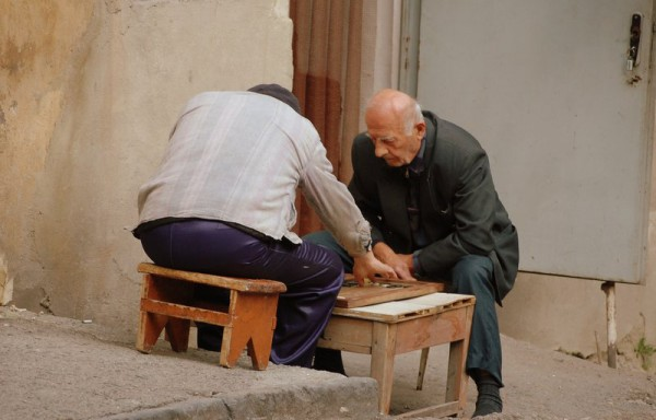 Georgian men playing Nardi in Old Tbilisi